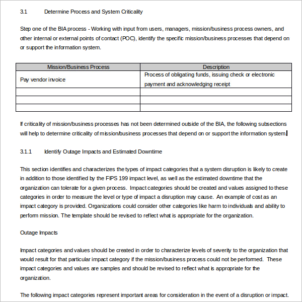 Word Business Impact Analysis Template