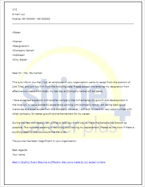 2 Weeks Notice Period Letter Template PDF