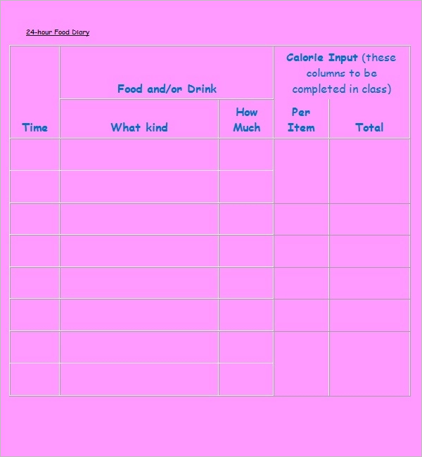 24 Hours Food Log Template Download