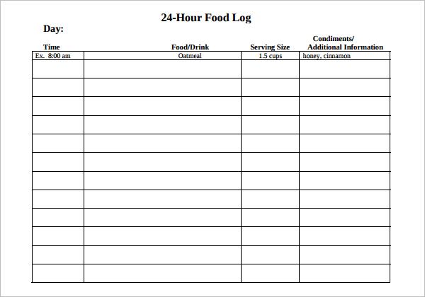 24 Hours Food Log Template