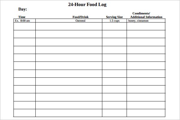 24 Hours Log Template