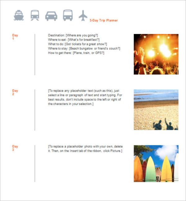 5-Day Trip Agenda Template