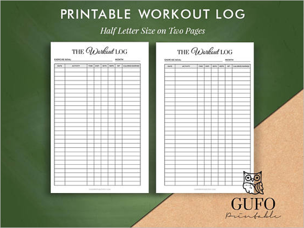 A4 Size Workout Log Sheet Template