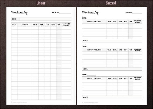 A5 Workout Log Template