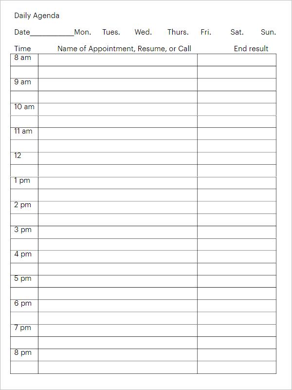 Agenda Planner Template