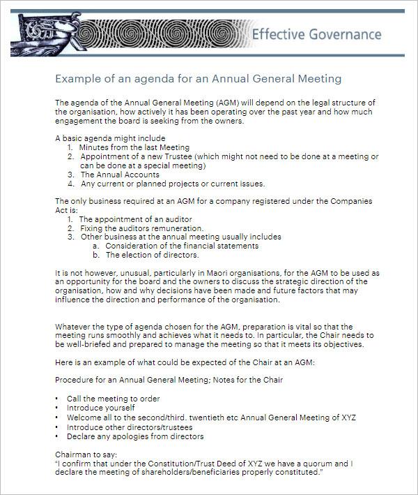 Annual Business Agenda Template
