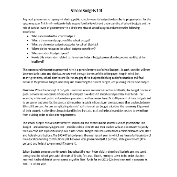 Annual School Budget Template
