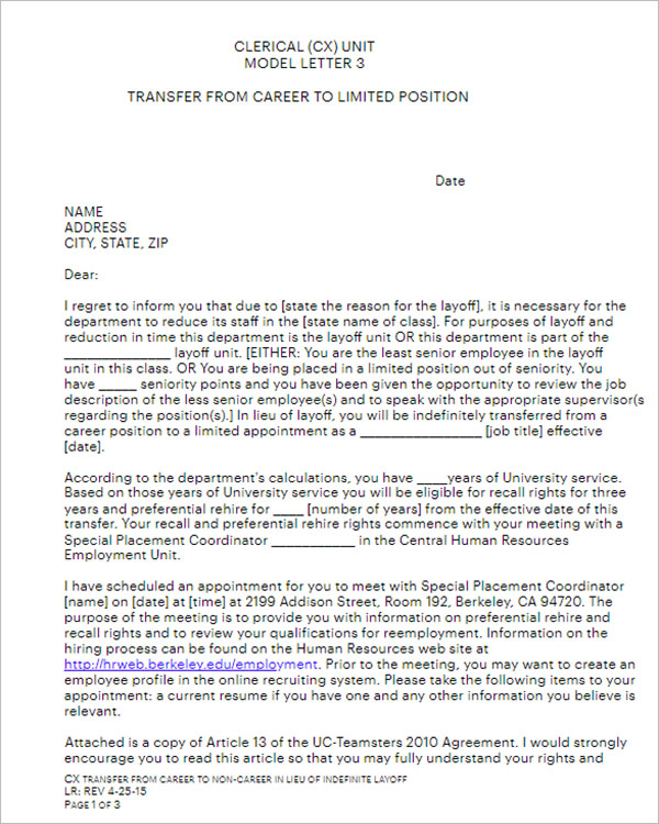 Application Form For Transfer Letter