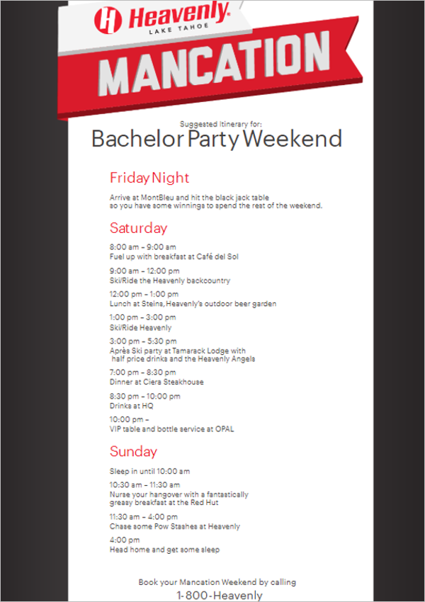 Bachelor Party Itinerary Template