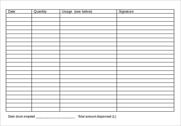 Bar Inventory Form Template