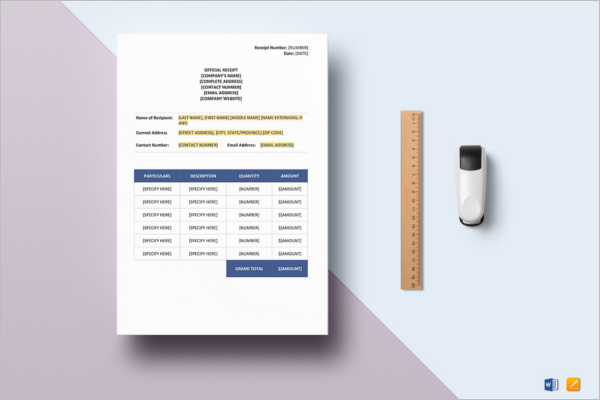 Basic Contractor Receipt Template