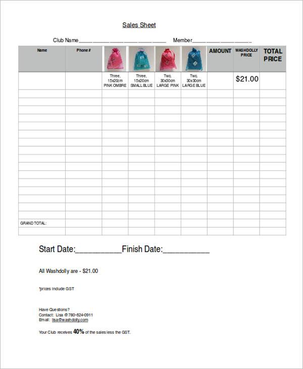 Basic Sales Sheet Template