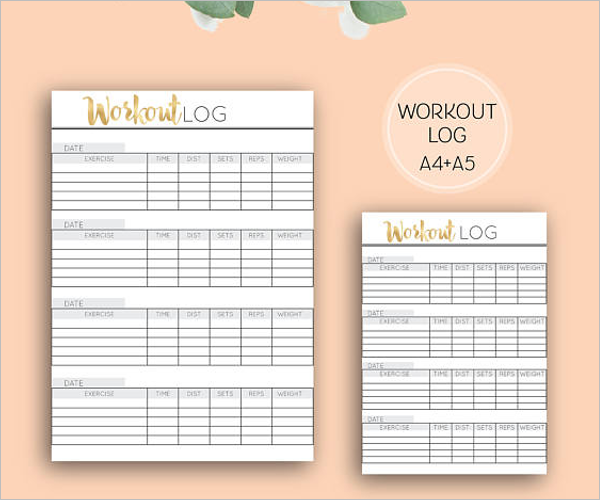 Beautiful Workout Log Template