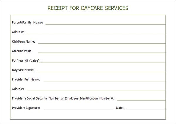 Best Day Care Receipt Template Word