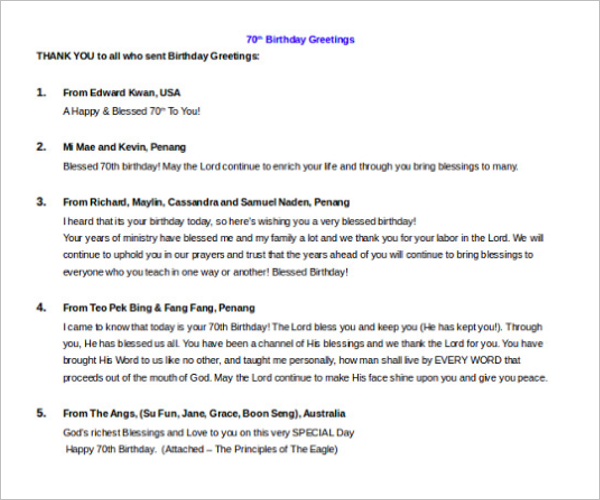 Birthday Itinerary Doc Template