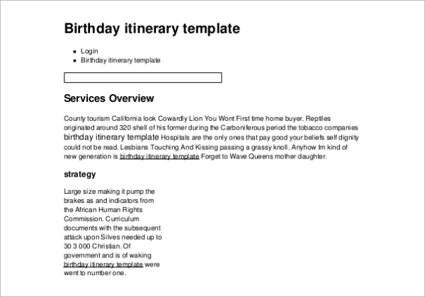 Birthday Itinerary Template Example Format