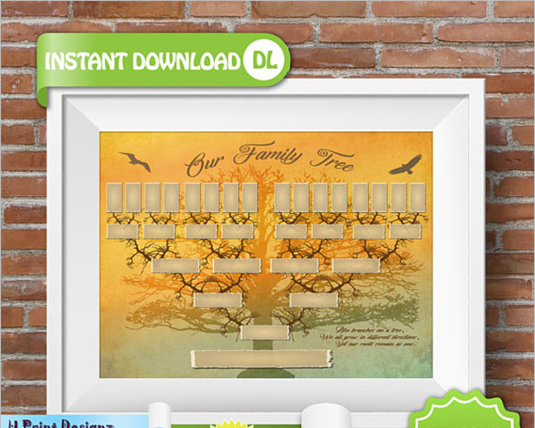 Blank 5 Generation Family Tree Template