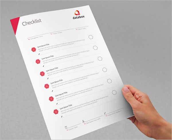 Blank Checklist Example