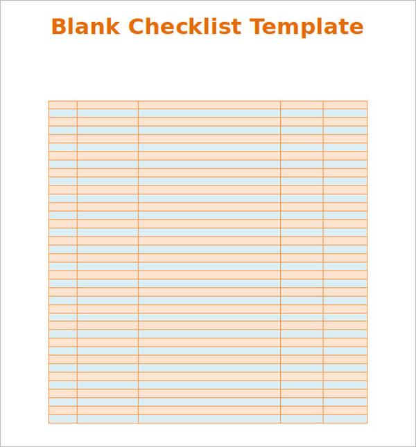 Blank Checklist Excel Format