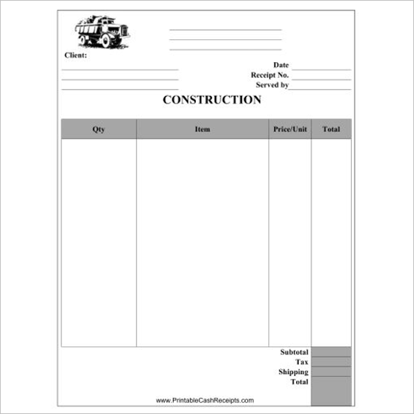 Blank Construction Receipt Template