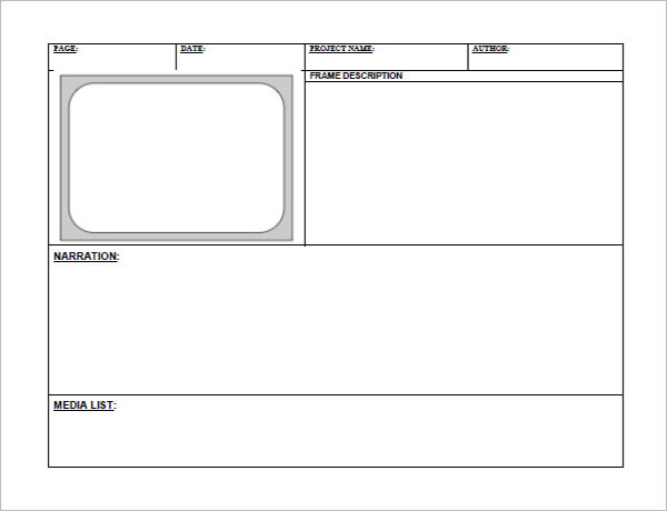 Blank Digital Storyboard Template