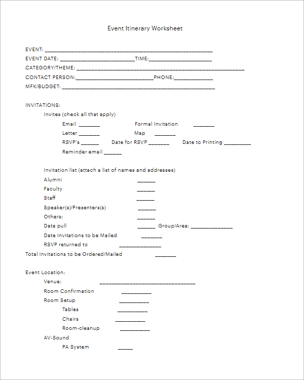 Blank Event Itinerary Worksheet Template