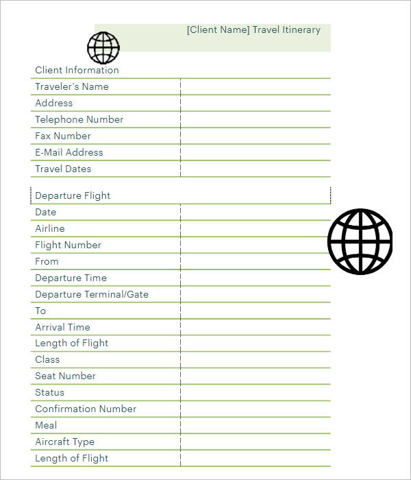 Blank Itinerary Template Free Download