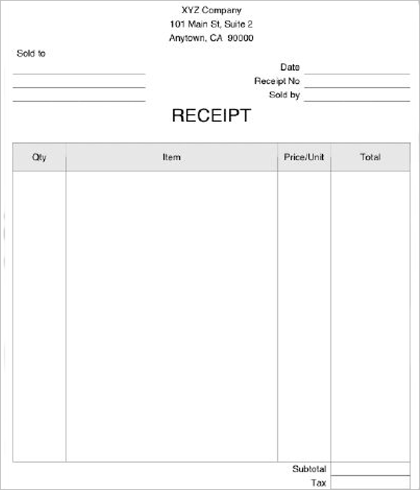 Blank Medical Receipt Template