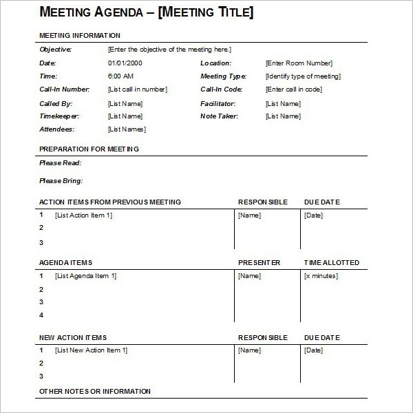 Blank Meeting Agenda Template
