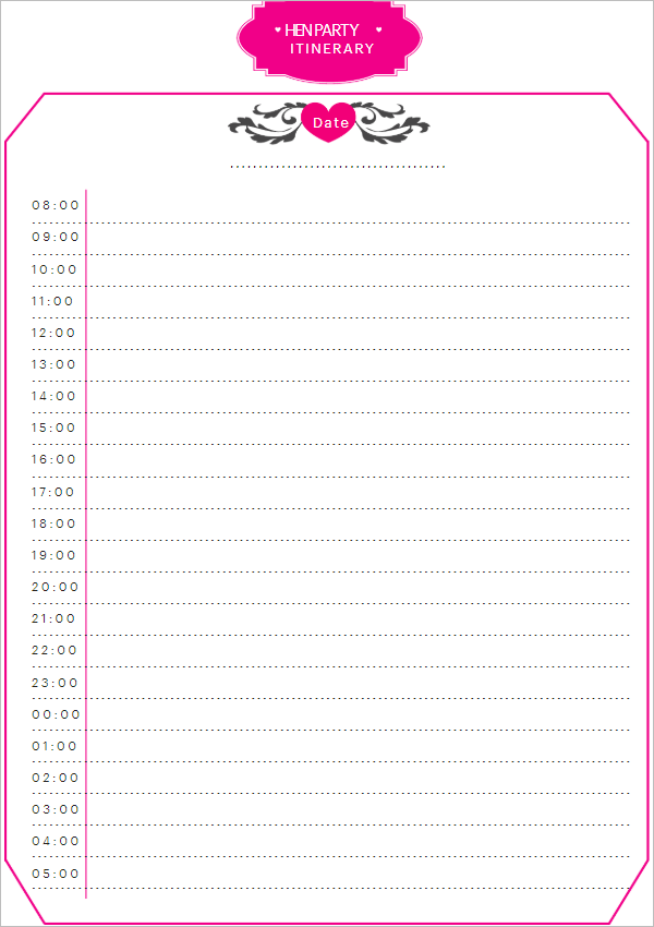 Blank Party Itinerary Template
