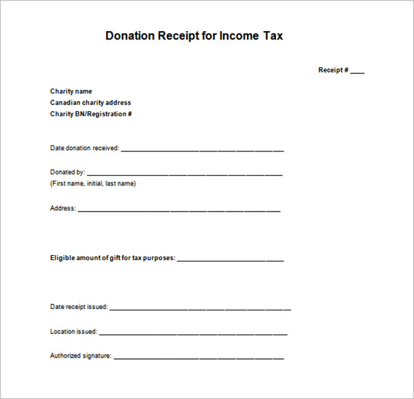 Blank Tax Receipt Template