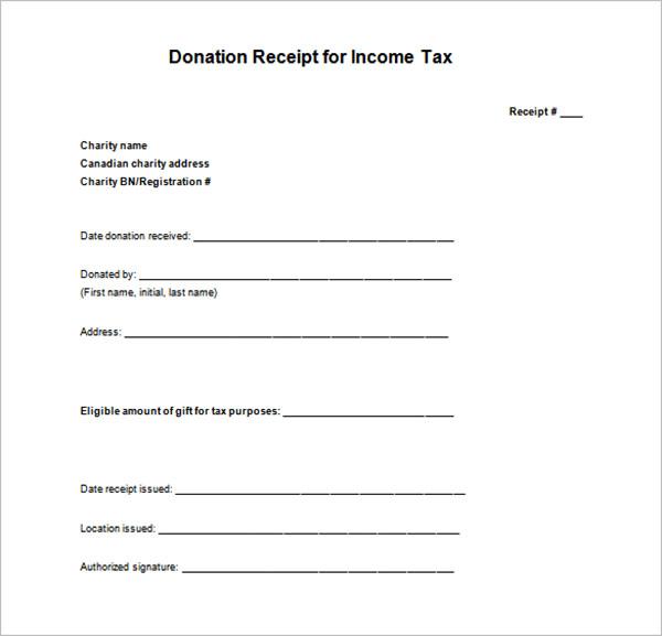 Blank Tax Receipt Template