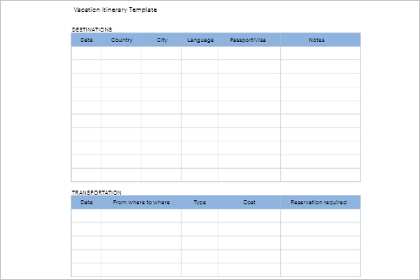 Blank Vacation Itinerary Template