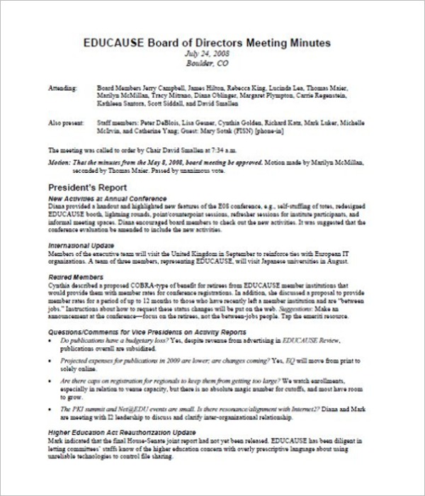 Board of Directors Meeting Minutes Format