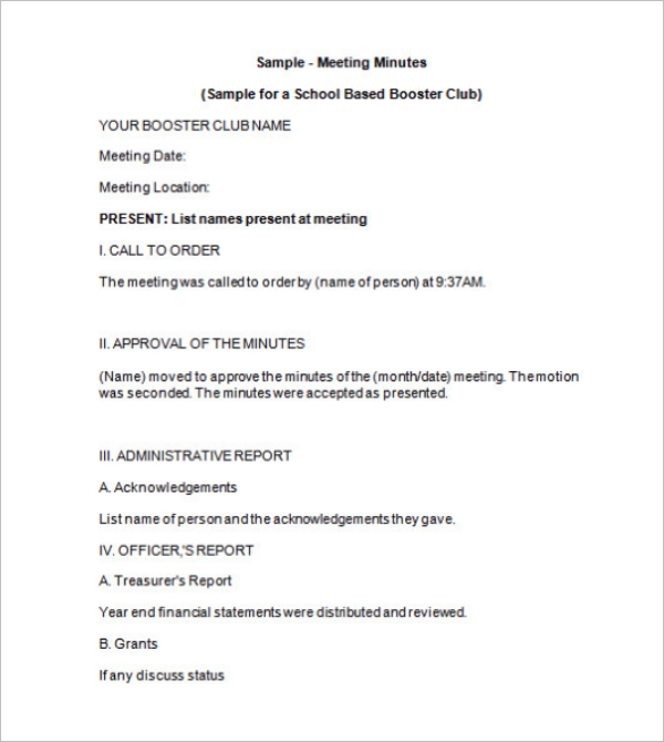 Booster Club Meeting Minutes Template