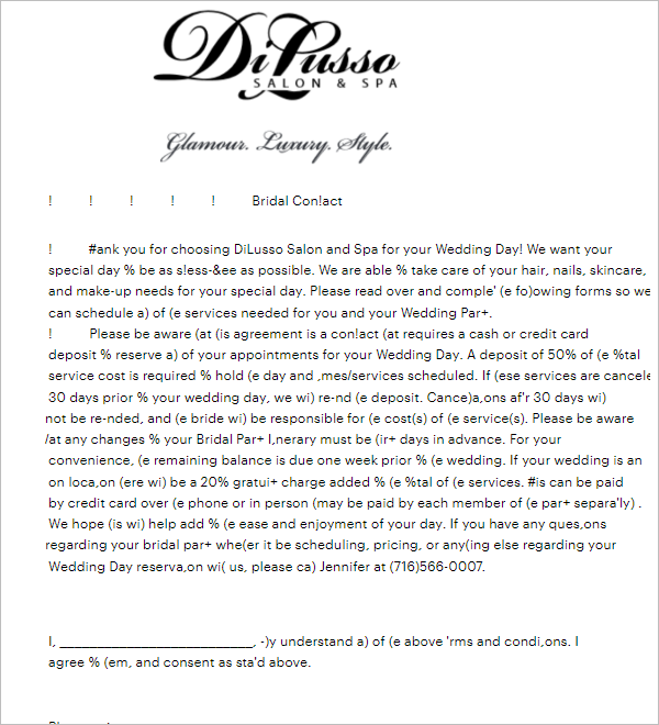 Bridal Party Itinerary Template
