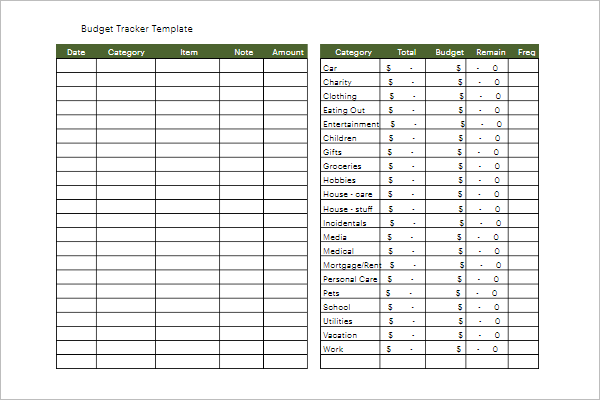 Budget Tracking Template