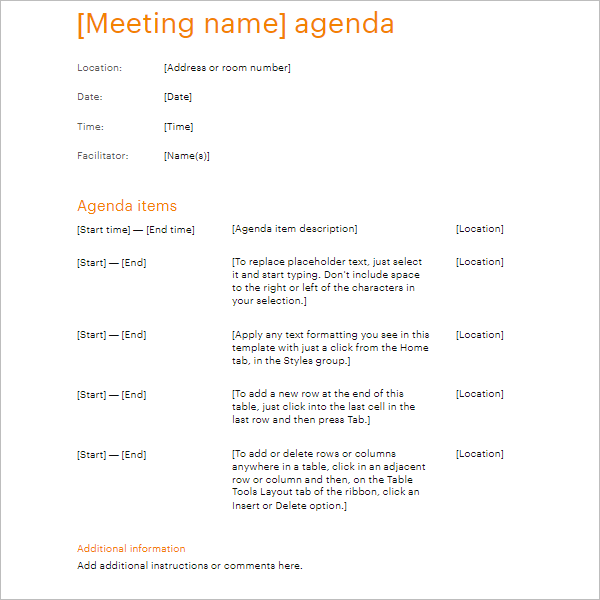 business meeting agenda template doc
