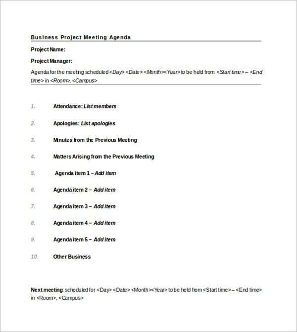 Business Project Agenda Template