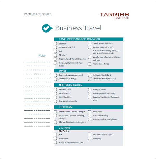 Business Travel Agenda Template