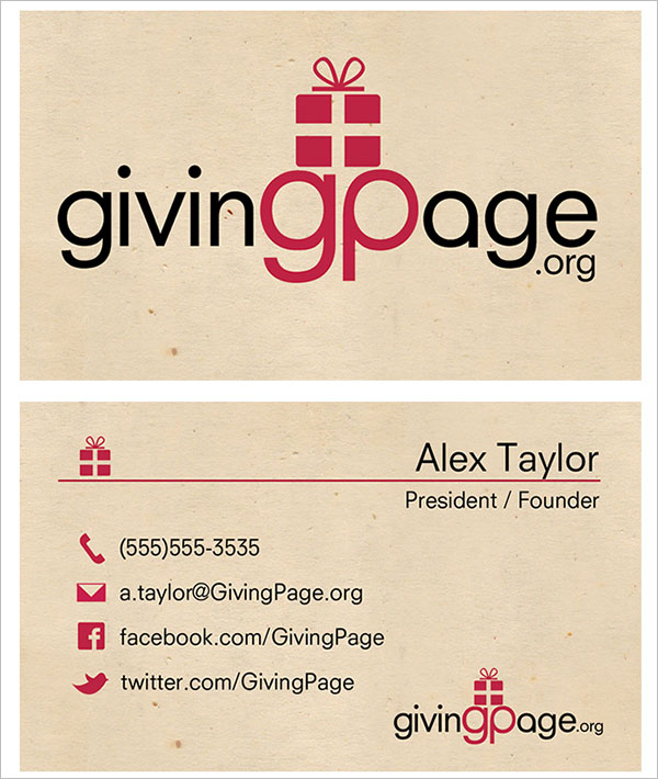 Charity Business Card Front & Back
