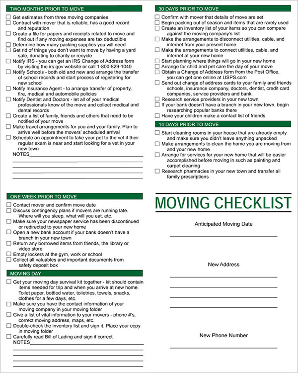 Checklist Template For Moving