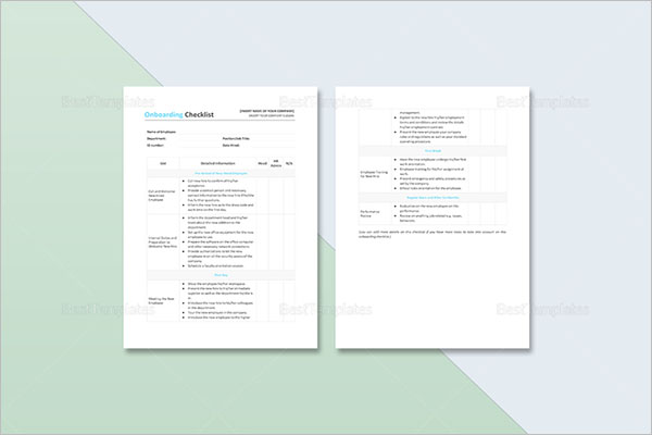 Checklist Template For Onboarding Employee