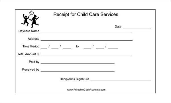 Child Care Receipt Format