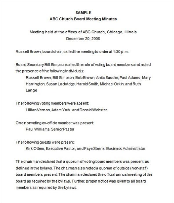 Church Board of Directors Meeting Template