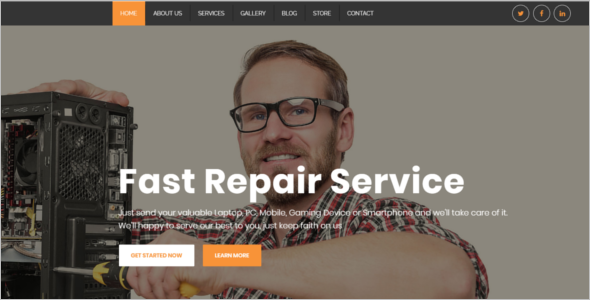 Clean Computer Repair Website Theme