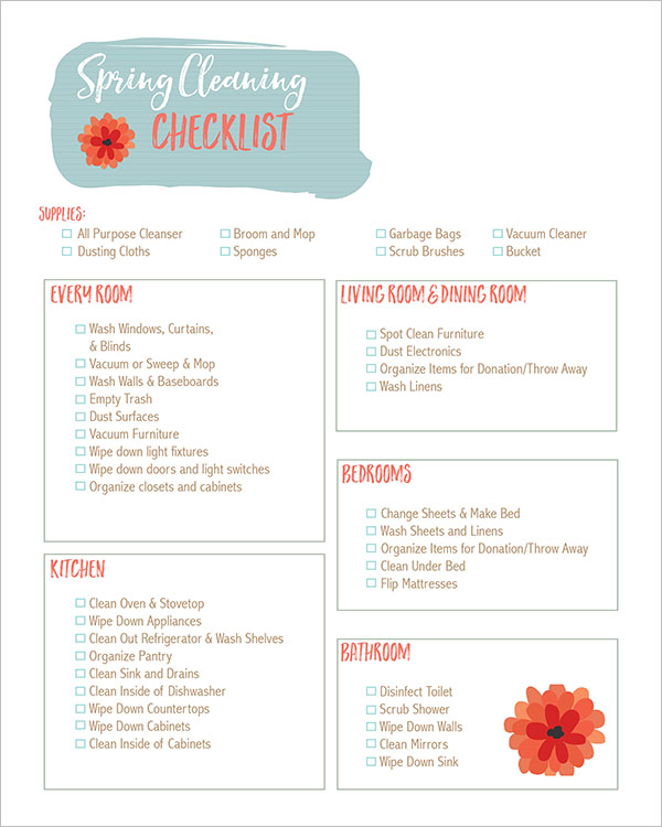 Spring Cleaning Checklist Template Free