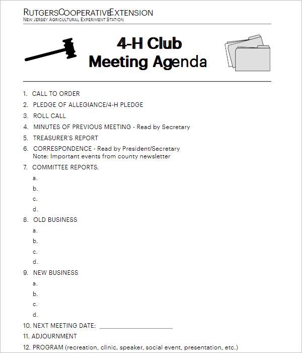 Club Board Meeting Template Download