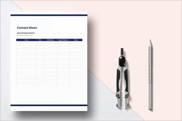 Company Contact Sheet Template