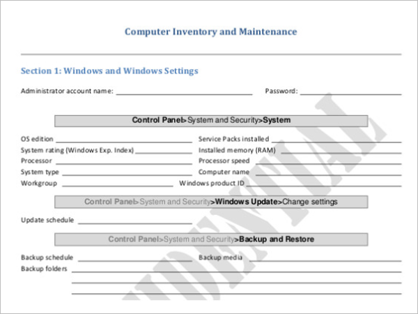 Computer Inventory Database Template